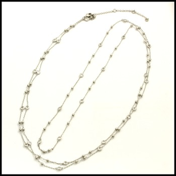 "48"" Long Necklace 14k White Gold Overlay with Cubic Zirconia"