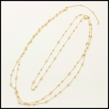 """48"""" Long Necklace Jewelry Brass with 3x14k Yellow Gold Overlay with Cubic Zirconia"""