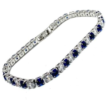 """5.00ct Sapphire & Diamonique 6.5"""" Long Bracelet"""