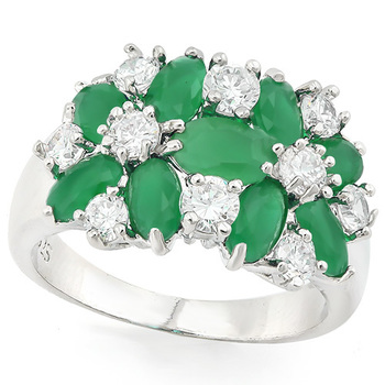 5.00ctw Emerald & White Sapphire Ring size 6.5