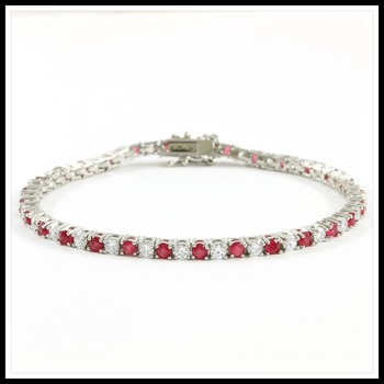 5.00ctw Ruby & White Sapphire Tennis Bracelet