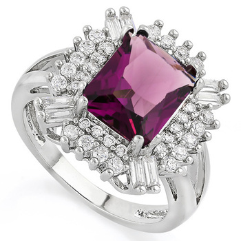 5.10ctw Amethyst and White Sapphire Ring Size 7