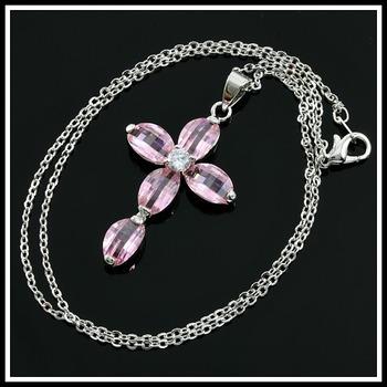 5.20ctw Pink AAA Grade CZ Cross Necklace