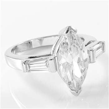 5.25ctw Marquise & Tapered Baguette Diamonique Classic Solitaire / Side TaperedRing Size 5
