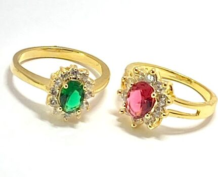 5.25ctw Multicolor Stones Lot of 2 Rings Size 7 & 7.5