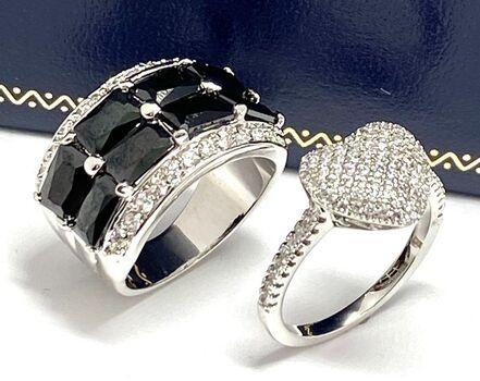 5.25ctw Onyx & Diamonique Lot of 2 Rings Size 8