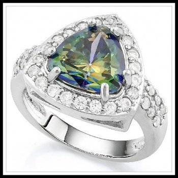 5.40ctw Green Mystic Topaz & White Sapphire Ring Size 8