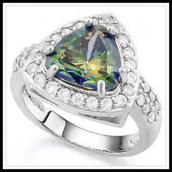 5.40ctw Green Mystic Topaz & White Sapphire Ring Size 8