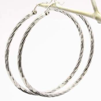 55mm Fine Jewelry Brass with 3x Gold Overlay Diamond Cut Hoop Earrings