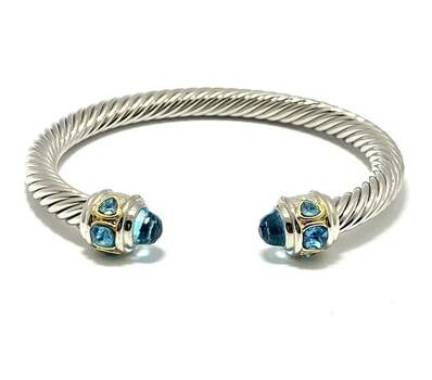 5.75ct Blue Topaz Cable Bangle Bracelet Platinum, Gold Plated