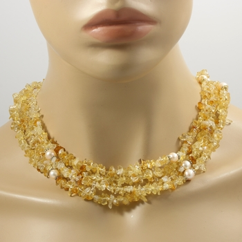 577.5ctw 4 String Genuine Citrine & Cream Pearl Necklace Featuring 925 Sterling Silver Clasp Closure