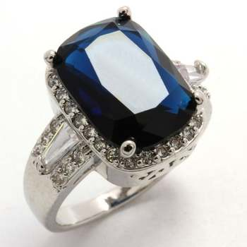 5.77ctw Blue & White Sapphire Ring size 6.75