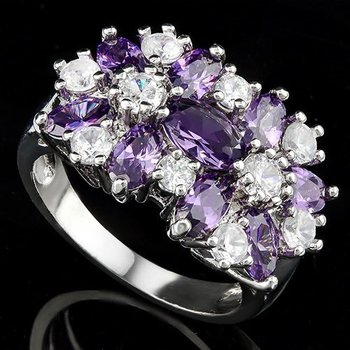 6.00ctw Amethyst & White Sapphire Ring size 7