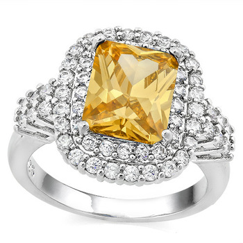 6.00ctw Citrine & White Sapphire Ring Size 7