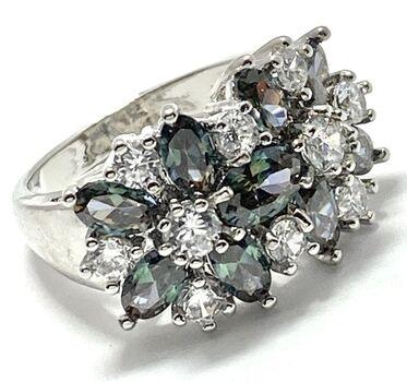 6.00ctw Green Mystic Topaz & White Sapphire Ring sz 7.5