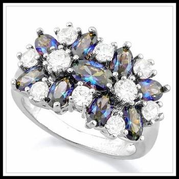 6.00ctw Mystic Topaz & White Sapphire Ring sz 7