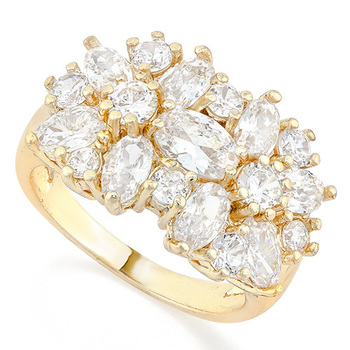 6.00ctw  White Sapphire Fine Jewelry Brass with 3x 14k Gold Overlay  Ring Size 7