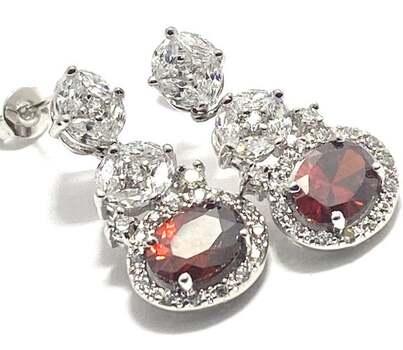 6.0ctw Red Corundum & 2.50ctw White Diamonique Earrings