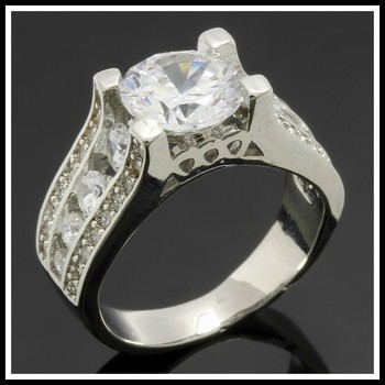 6.11ctw White Sapphire 14k White Gold Overlay Ring Size 7
