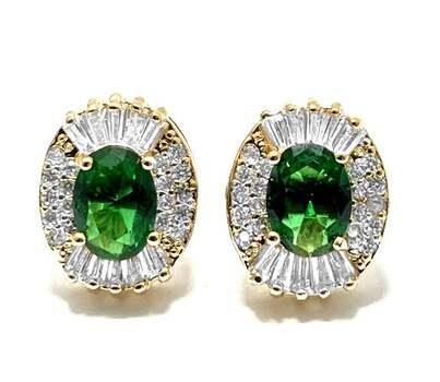 6.25ctw Emerald & 1.10ctw White Diamonique Earrings