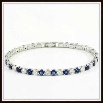 6.45ctw Blue & White Sapphire Tennis Bracelet