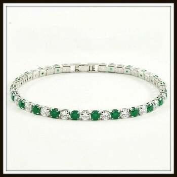 6.45ctw Emerald & White Sapphire Tennis Bracelet