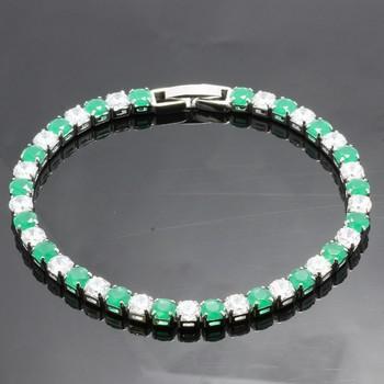 6.45ctw Emerald & White Sapphire Tennis Bracelets