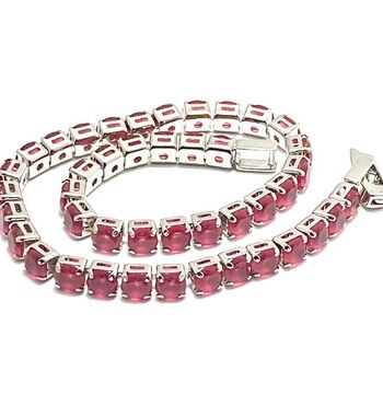 6.45ctw Ruby 14k White Gold Overlay Tennis Bracelet