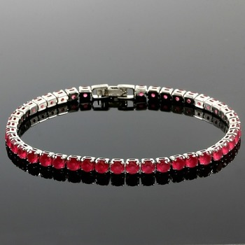 6.45ctw Ruby Fine Jewelry Brass with 3x Gold Overlay Tennis Bracelet