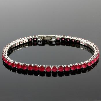 6.45ctw Ruby Fine Jewelry Brass with 3x Gold Overlay Tennis Bracelet