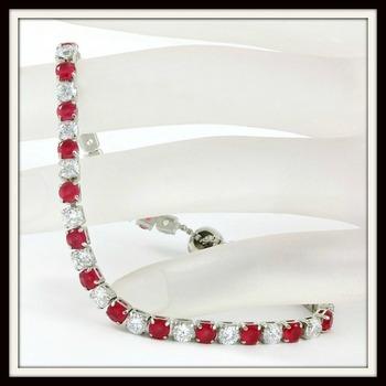 6.45ctw Ruby & White Sapphire Adjustable Bracelet