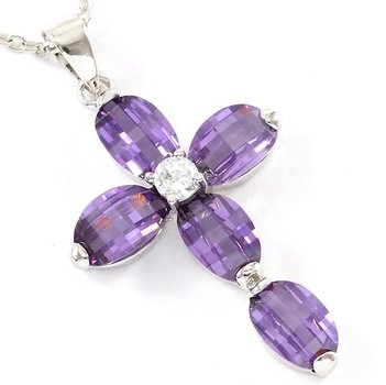 6.50ctw AAA+ Grade Purple Cubic Zirconia Fine Jewelry Brass with 3x Gold Overlay Cross Necklace