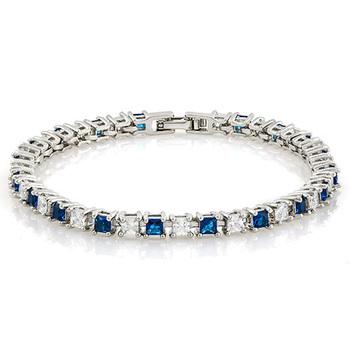 6.50ctw Blue & White Sapphire Tennis Bracelet