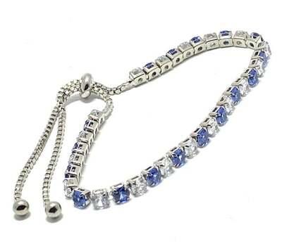 6.5ct Blue & White Sapphire Tennis Bracelet Adjustable