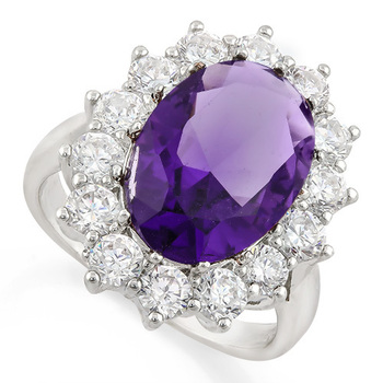 6.60ctw Amethyst & White Sapphire Ring Size 7