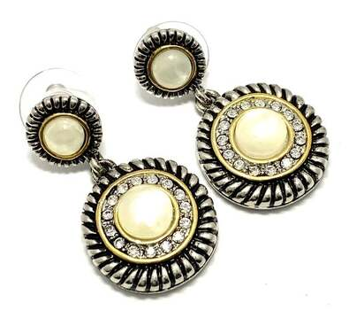 6.75ct Mother of Pearl & 1.00ct Diamonique Diamond Two-Tone 14k Gold Over Drop Earrings