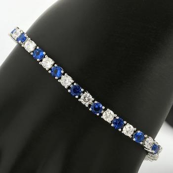 6.75ctw Blue & White Sapphire Tennis Bracelet