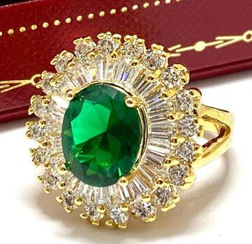 6.75ctw Emerald & Diamonique Ring Size 6