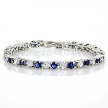 6.75ctw London Blue Topaz & White Sapphire Bracelet