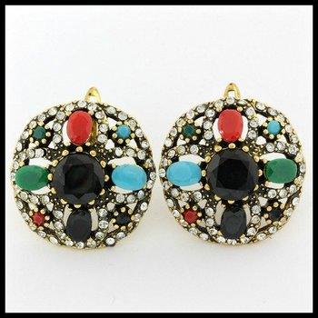 6.80ctw Multi-Color Gemstones Latch Back Earrings