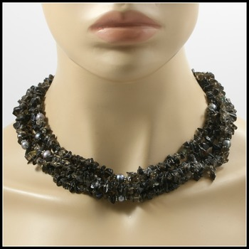 689.5ctw 4 String Genuine Smokey Topaz & Black Tahitian Pearl Necklace Featuring 925 Sterling Silver Clasp Closure