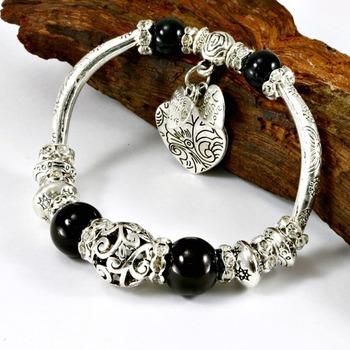7-12mm Black Spinel Beads & White Cubic Zirconia Bracelet