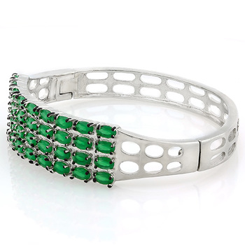 7.25ctw Green Italian CZ (AAA Grade) Bangle Bracelet