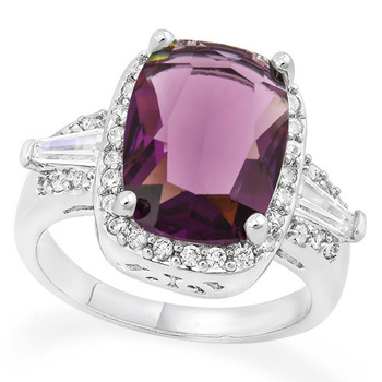 7.33ctw Amethyst & White Sapphire Ring Size 8.5