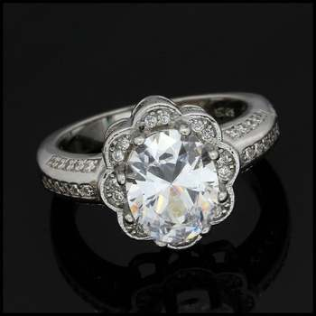 7.35ctw Diamonique Engagement Ring in .925 Sterling Silver Size 7