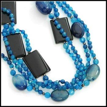 "74"" Long Blue & Black Agate Bead Necklace"
