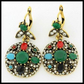 7.42ctw Multi-Color Gemstones Latch Back Drop Earrings