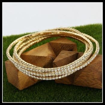 7.50ctw White Sapphire Set of 5 Stretch Charm Bracelet
