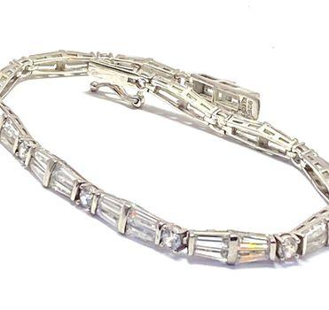 """7.75ctw Diamonique Tennis Bracelet Platinum & 925 Sterling Silver 7"""" Long"""