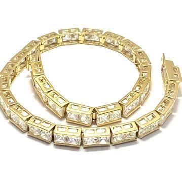 "7.75ctw Diamonique Tennis Bracelet Yellow Gold & 925 Sterling Silver 7"" Long"